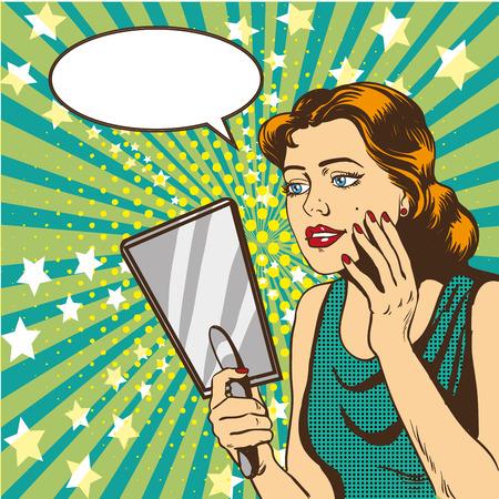 La mujer mira en el espejo de la ilustración del vector en estilo del arte pop cómico retro. Burbuja de diálogo.