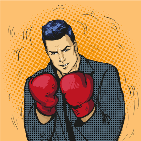 revenge: Man in boxing gloves vector illustration in comic pop art style. Businessman ready to fight and protect his business concept.