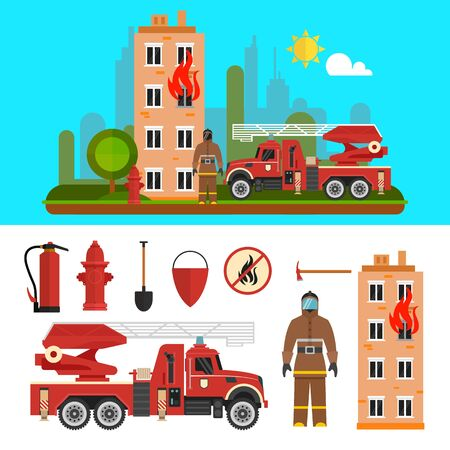 firefighting: Fire fighting department objects isolated on white background. Fire station and firefighters. Design elements and icons in flat style.