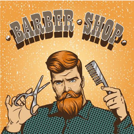Barbería ilustración vectorial del cartel. estilista peluquero inconformista con el diseño de las tijeras tienda en el arte pop estilo de la vendimia. Ilustración de vector