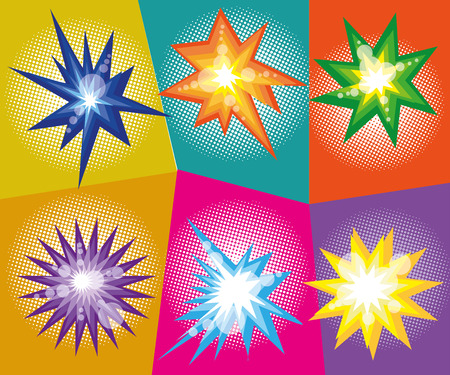 kapow: Vector set of abstract explosions in comic pop art style. Vector illustration. Design elements.
