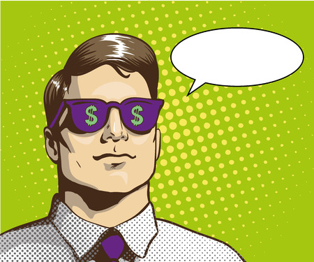 rich man: Man with sunglasses with dollar sign. Vector illustration in retro pop art style. Business success concept. Rich man thinking about money.