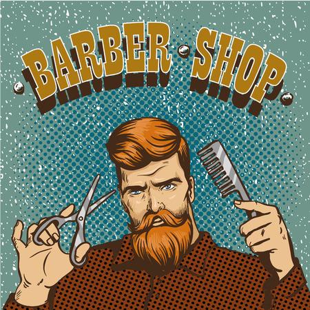 stylist: Barber shop poster vector illustration. Hipster barber stylist with scissors shop design in vintage pop art style.
