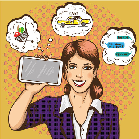 smart phone woman: Beautiful woman with smart phone comic pop art vector illustration. Girl with speech bubble holding big smartphone in her hand.
