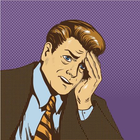 Ilustración del vector del hombre molesto en el estilo del arte pop cómico retro. Hombre de negocios triste en situación de estrés de pensar en su falta de negocio.