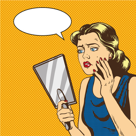 De vrouw bekijkt de spiegel vectorillustratie in retro grappige pop-artstijl. Spraak bubbel.
