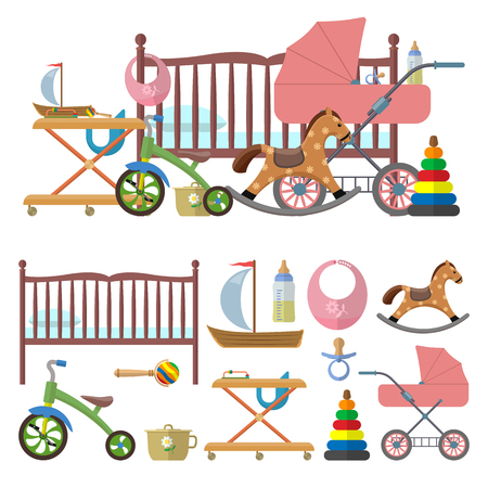 Interior de la habitación del bebé y el vector conjunto de juguetes para los niños. Ilustración de estilo plana. Aislado elementos de diseño y los iconos. Cama, cuarto de niños, bicicletas, carritos