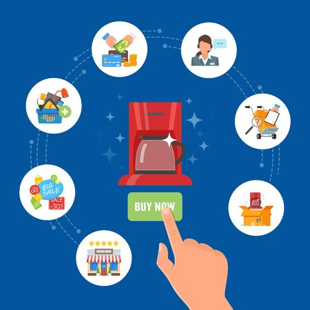 press button: Online shopping concept vector illustration in flat style design. Hand press button Buy Now and order product on internet.