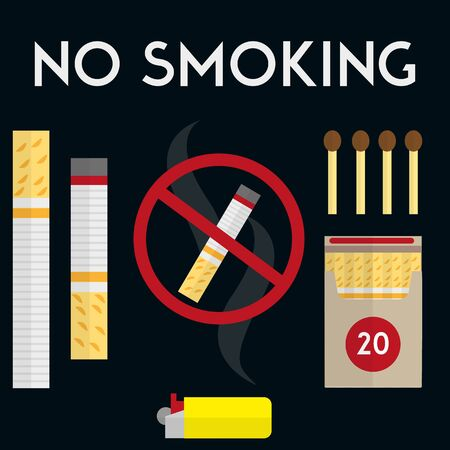 smoldering: No smoking sign with cigarettes, lighter and matches. Vector illustration in flat style design. Pack of cigarettes. Illustration