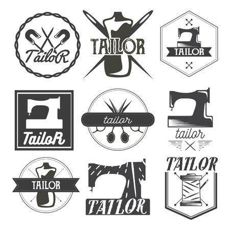 tailored: Vector set of vintage sewing  , design elements and emblems. Tailor shop labels. Illustration
