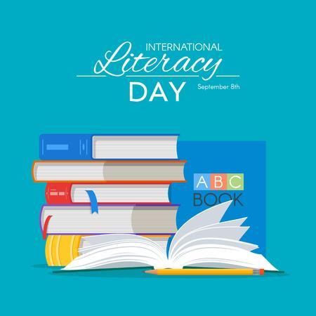 Affiche de la Journée internationale de l'alphabétisation. Education notion illustration vectorielle. Pile de bouquins.