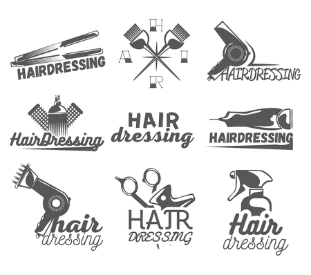 blade cut: Vector set of hair salon vector labels in vintage style. Hair cut beauty and barber shop, scissors, blade. Design elements, icons, badges isolated on white background.
