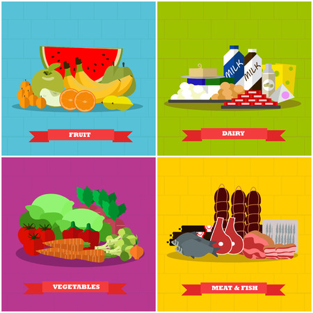 Healthy food vector poster in flat style design. Different groups of food products, bread, sweet, meat, milk, vegetables, fruits.