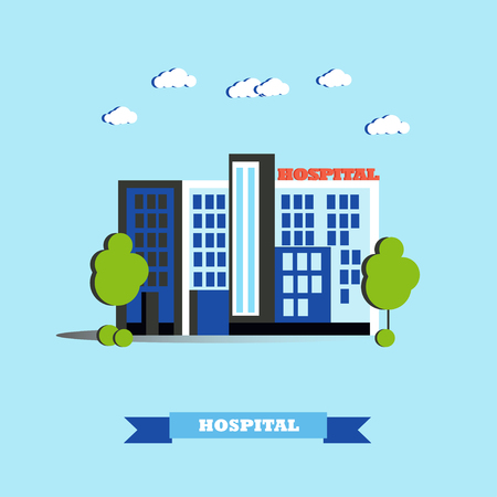 public health services: City hospital building vector illustration in flat style. Modern city design. Medical center concept.