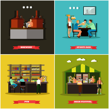 visitors: Vector set of brewery and beer restaurant concept banners. Visitors drink alcohol in a bar. Illustration