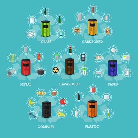 Garbage Papierkörbe Konzept Vektor-Illustration in flachen Stil. Industrieabfallverwertung Poster und Symbole.
