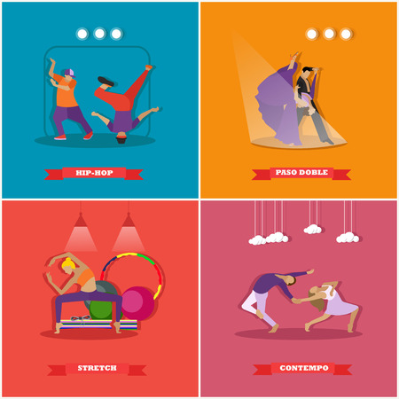 paso doble: People dancing in different styles. Break dance, paso doble, contemporary dance. Vector illustration in flat design.