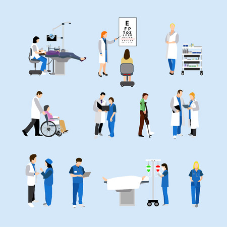 Vector set of doctors and patients in hospital. Vector illustration with medical workers and isolated objects. Medical check up, surgery.