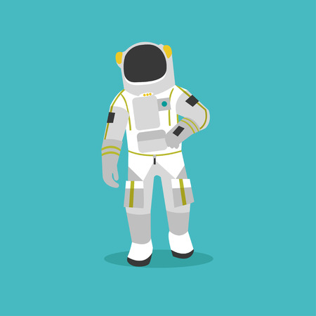 spacesuit: Vector illustration of astronaut in outer space. Man in spacesuit and helmet flat style design. Illustration