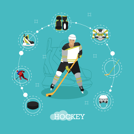 ice hockey player: Vector illustration of ice hockey player. Man in sport uniform flat style design. Ice hockey objects, ice skates, helmet, puck, stick.