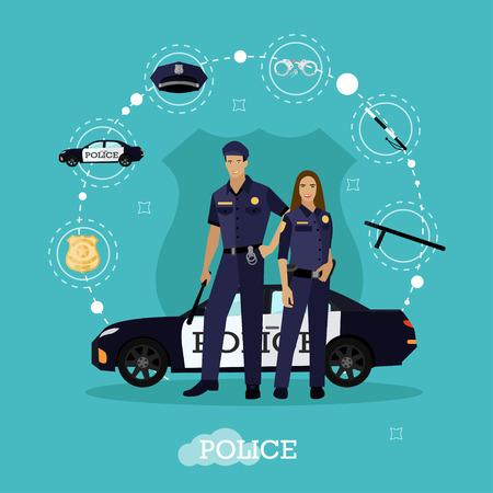 femme policier: l'homme de la police et la femme restent à côté de la voiture de police. Concept illustration dans le style plat. Officier en uniforme.