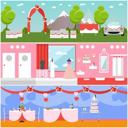 Wedding ceremony design vector banners. Wedding party interior. Illustration