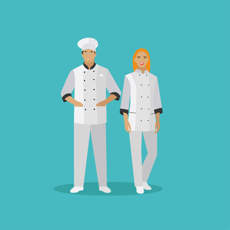 Cooking chefs characters. Vector illustration in flat style design. Woman and man chef cook. Illustration