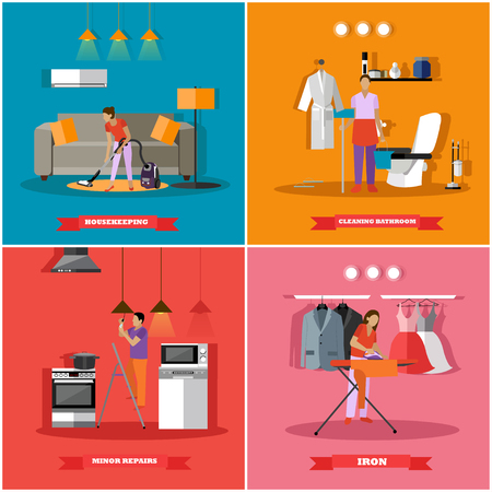 fixing: Cleaning and home service concept vector illustration. People cleaning house, ironing clothes and change light bulbs.