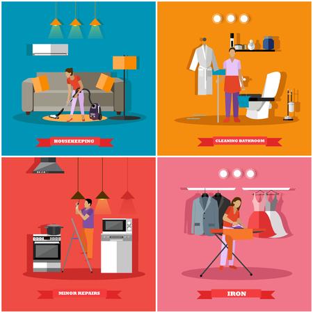 Pulizia e manutenzione casa concetto di illustrazione vettoriale. Persone pulizia della casa, stirare i vestiti e lampadine cambiamento di luce. Vettoriali