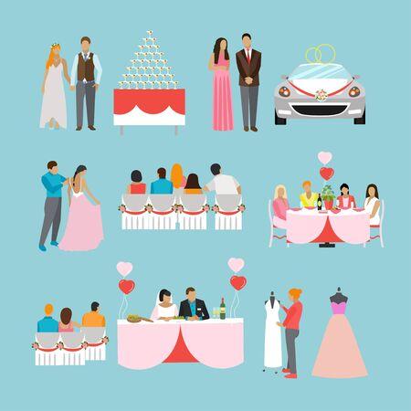 Mariage de cérémonie de conception des icônes isolées. Objets de fête de mariage. Vecteurs