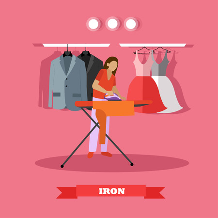 woman ironing: Woman ironing clothes vector illustration. Housewife uses the home appliance.