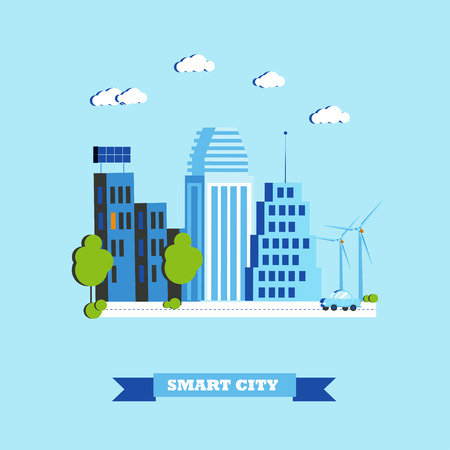 Smart city concept vector illustration in flat style. Modern city design with innovation technologies. Illustration