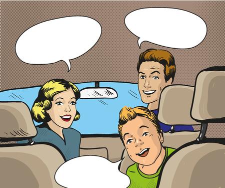 Famiglia che si siede in macchina guardando indietro. Illustrazione vettoriale in stile pop art, retro fumetti. Fumetto