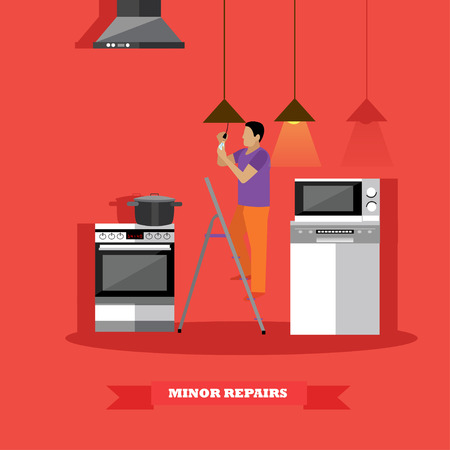 replacing: Man changing lamp bulb in kitchen vector illustration. Do it yourself home repair concept.