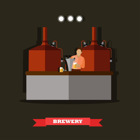 vat: Brewery and beer restaurant concept vector illustration. Brewing production metal tanks.