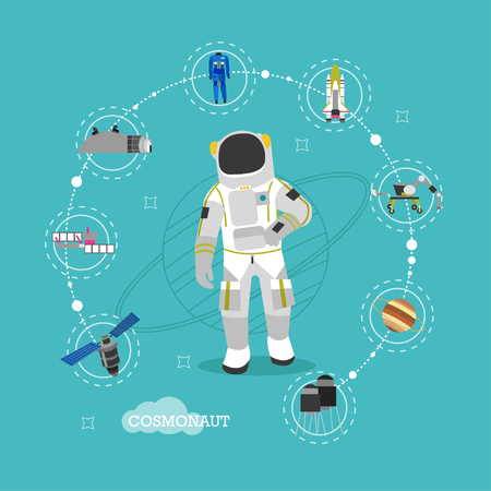 spacesuit: Vector illustration of astronaut in outer space. Man in spacesuit and helmet flat style design. Space objects, planets, satellite, rocket.