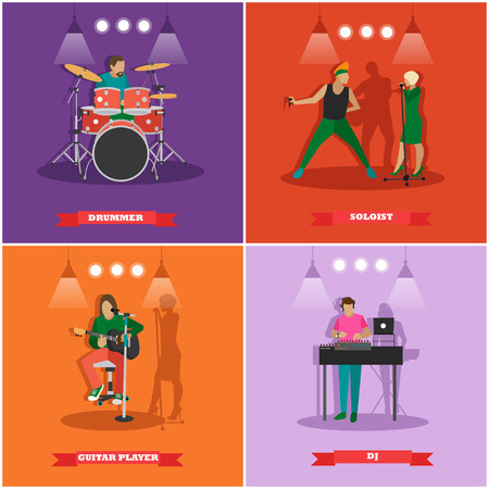 soloist: Vector set of musician and singers. Music rock band concept banners. Rock guitarist, dj, drummer. Illustration