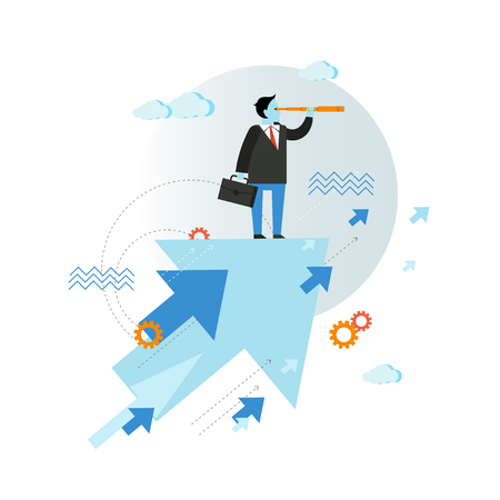 foresee: Businessman looking through spyglass vector illustration in flat style design. Creative business vision concept. Moving ahead.