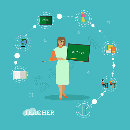 schoolmate: School teacher with chalkboard vector illustration in flat style design.