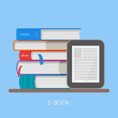 reader: Electronic book concept vector illustration in flat style. Stack of books and e-book reader.