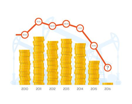 capital gains: Piles of coins with chart graph. Vector concept for financial markets. World stock exchange and oil markets. Price of oil by year.