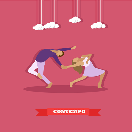 flexible girl: A couple performing a contemporary dance. Girl and guy dancing concept vector illustration in flat style design.