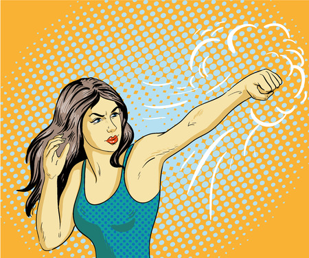 Young beautiful business woman punching and boxing. Concept vector poster in retro comic pop art style.