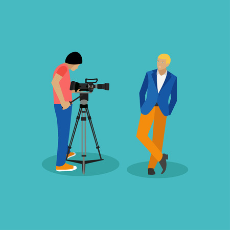 actor: Movie shooting concept vector banners in flat style. Actor poses for camera man. Cinema design elements and icons.