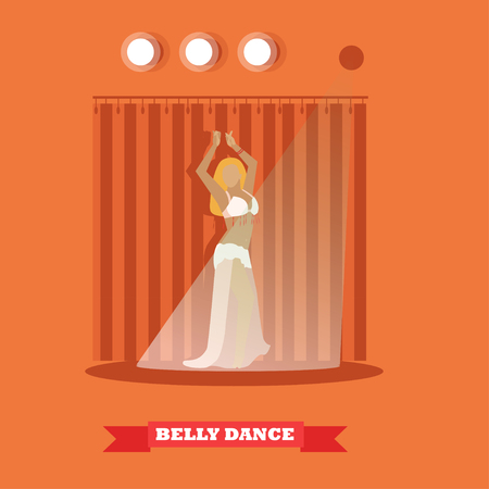 harem: Belly dance woman on stage concept vector poster in flat style. Girl dancing.