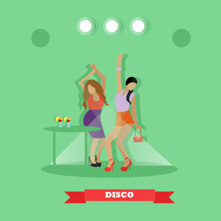 night table: Two sexy girls dancing around table in night club. Disco dance concept vector banner in flat style design.