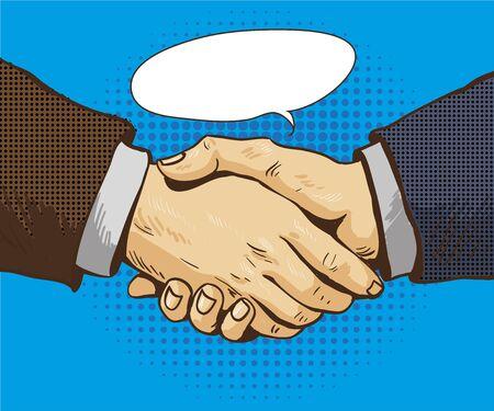 business partner: Businessmen shake hands vector illustration in retro pop art style. Partnership handshake concept poster in comic design.