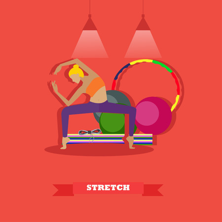 center position: Girl stretching body in fitness center vector illustration. Yoga position in flat style design. Sport aerobic concept. Illustration