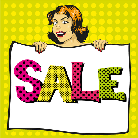 Woman holds white paper poster with Sale sign. Pop art comic retro style vector illustration. Put your own text template.