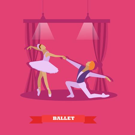 stage costume: Ballet dancers dance on a stage. Ballerina and make ballet dancer vector illustration in flat style design.